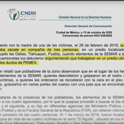 CNDH emite recomendación a SEMAR por muerte de 4 personas en Tlahuapan