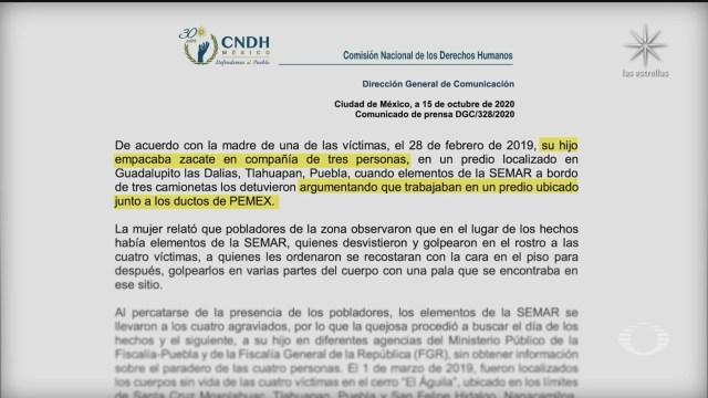 cndh envia recomendacion a semar por desaparicion forzada de cuatro personas en tlahuapan puebla