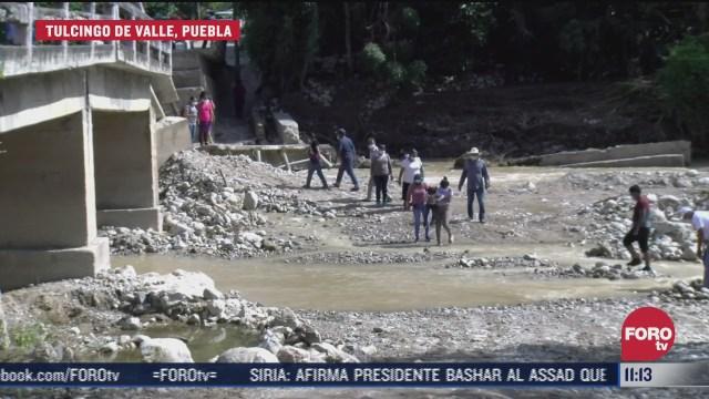 colapsan puentes carreteros por fuertes lluvias en puebla