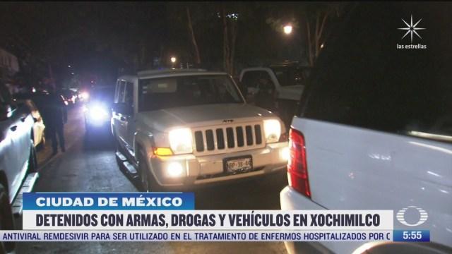 detienen a personas con armas y droga en xochimilco