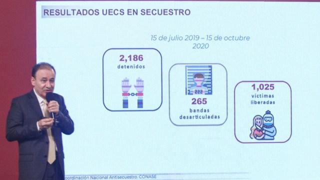 Alfonso Durazo, secretario de Seguridad, presenta su informe mensual de seguridad