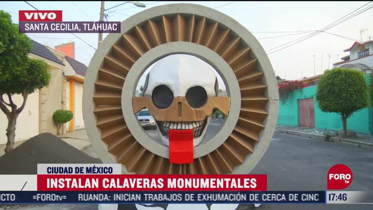 exhiben calaveras monumentales en tlahuac