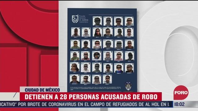 fiscalia de la cdmx detiene a 28 personas por robo