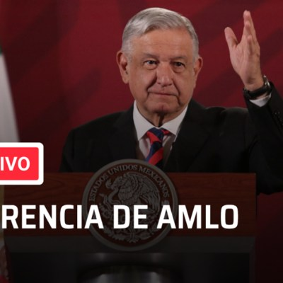 Foto conferencia en vivo de AMLO