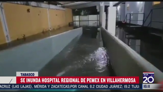 hospital de pemex en tabasco se inunda tras fuerte lluvias