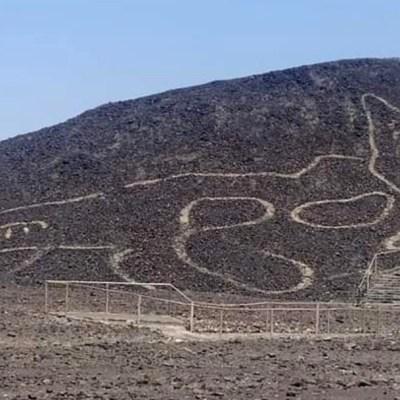Descubren geoglifo con forma de gato en la Nazca, Perú