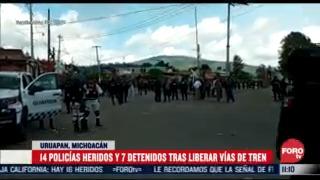 liberan vias del tren en michoacan