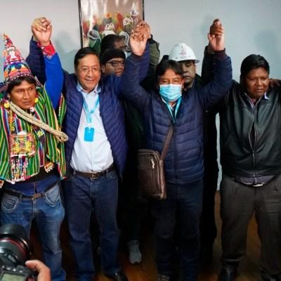 Candidato del MAS celebra triunfo en Bolivia, aun no hay resultados oficiales