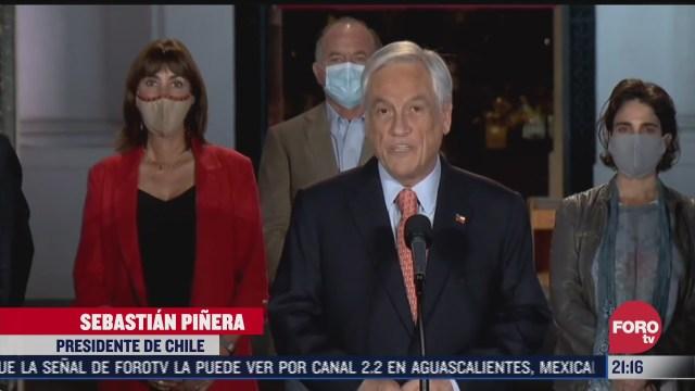 pinera dice que triunfo la paz y la democracia en chile