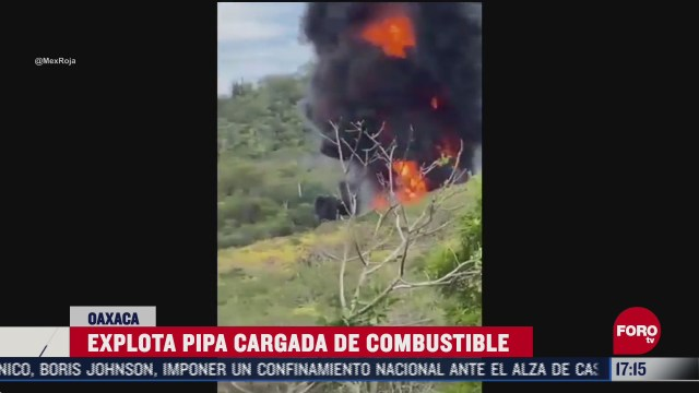 pipa cargada de combustible se incendia en oaxaca