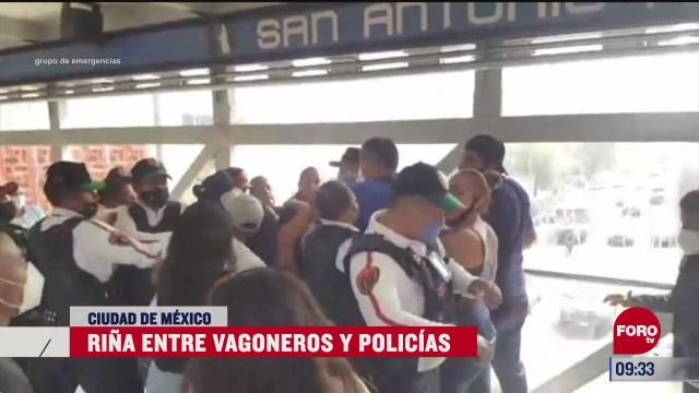 policias y vagoneros se agarran a golpes en metro san antonio abad
