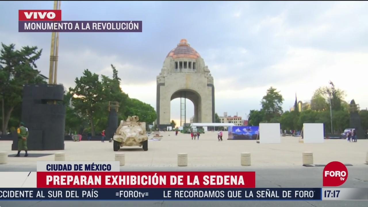 preparan exhibicion de la sedena en el monumento a la revolucion