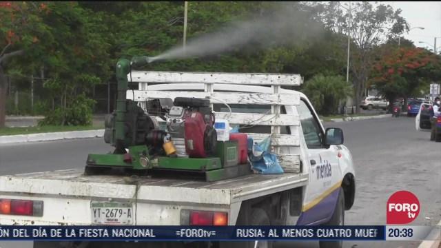 operativo de fumigación en zonas inundadas de la ciudad de Mérida Yucatán
