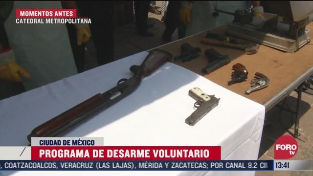 realizan programa de desarme voluntario en catedral metropolitana cdmx