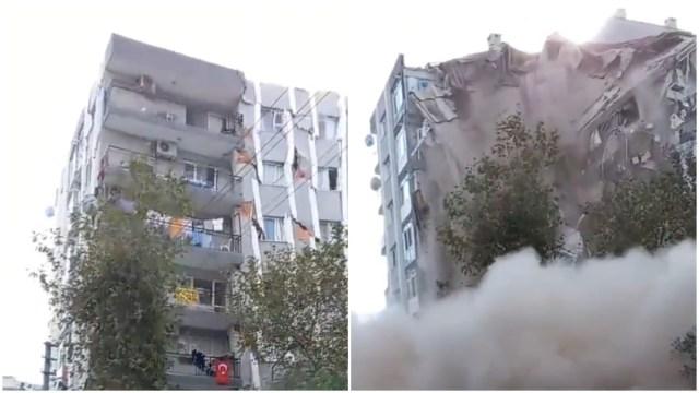 Video: Graban derrumbe de edificio en Turquía tras fuerte sismo