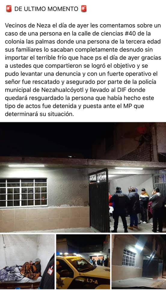 Denuncian maltrato físico contra abuelito en Las Palmas, Nezahualcóyotl