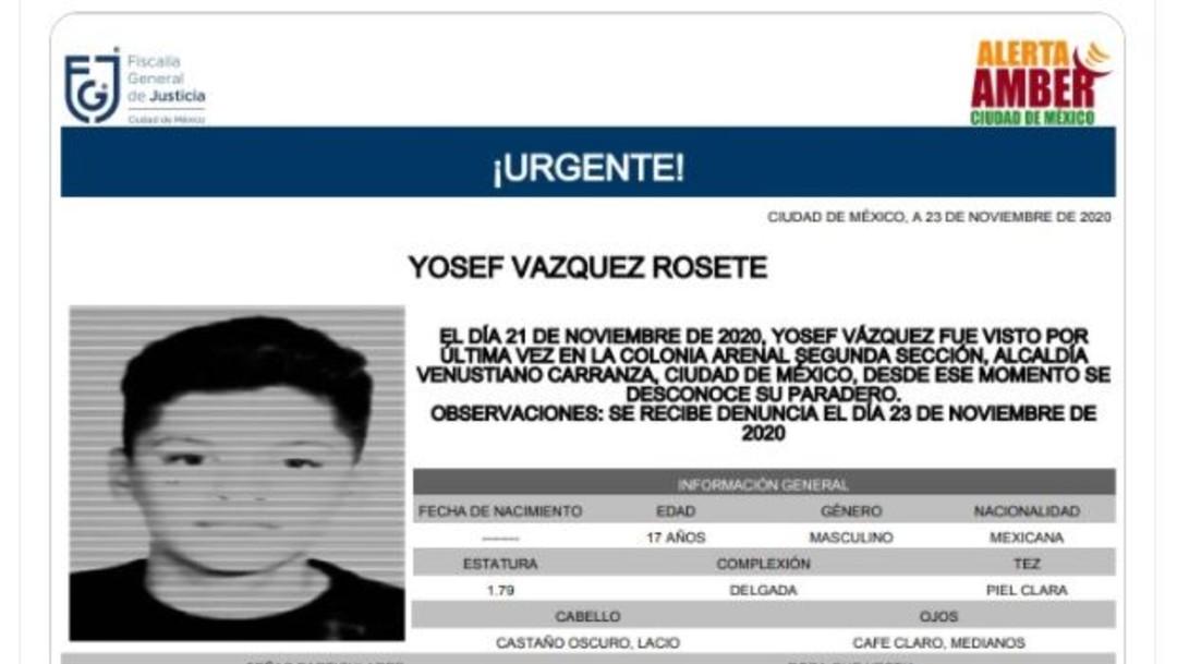 Activan Alerta Amber para localizar a Yosef Vázquez Rosete