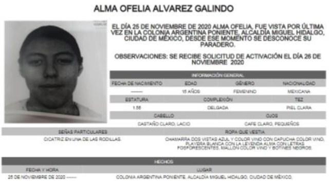 Activan Alerta Amber para localizar a Alma Ofelia Álvarez Galindo. (Foto:@FiscaliaCDMX)