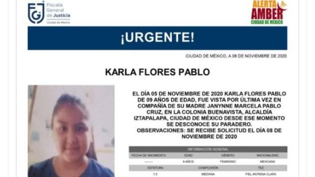 Activan Alerta Amber para localizar a Karla Flores Pablo