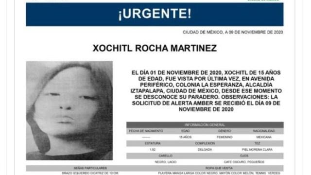 Activan Alerta Amber para localizar a Xochitl Rocha Martínez. (@FiscaliaCDMX)
