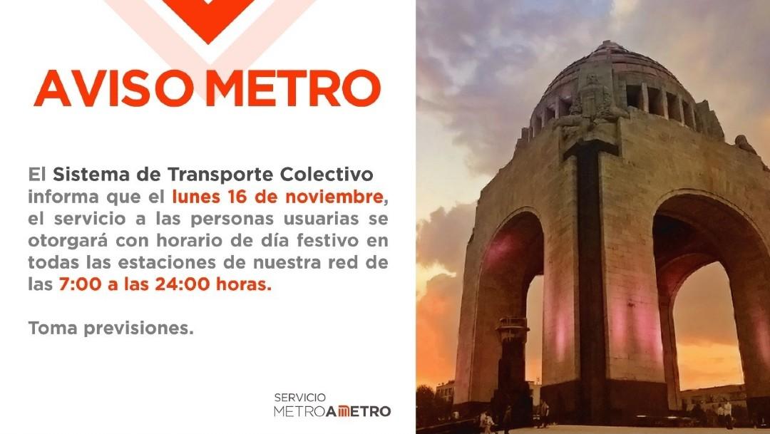 Metro de CDMX tendrá horario de día festivo el lunes 16 de noviembre