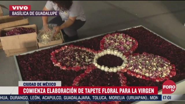 comienza elaboracion de tapete floral para celebrar a la virgen de guadalupe en la basilica