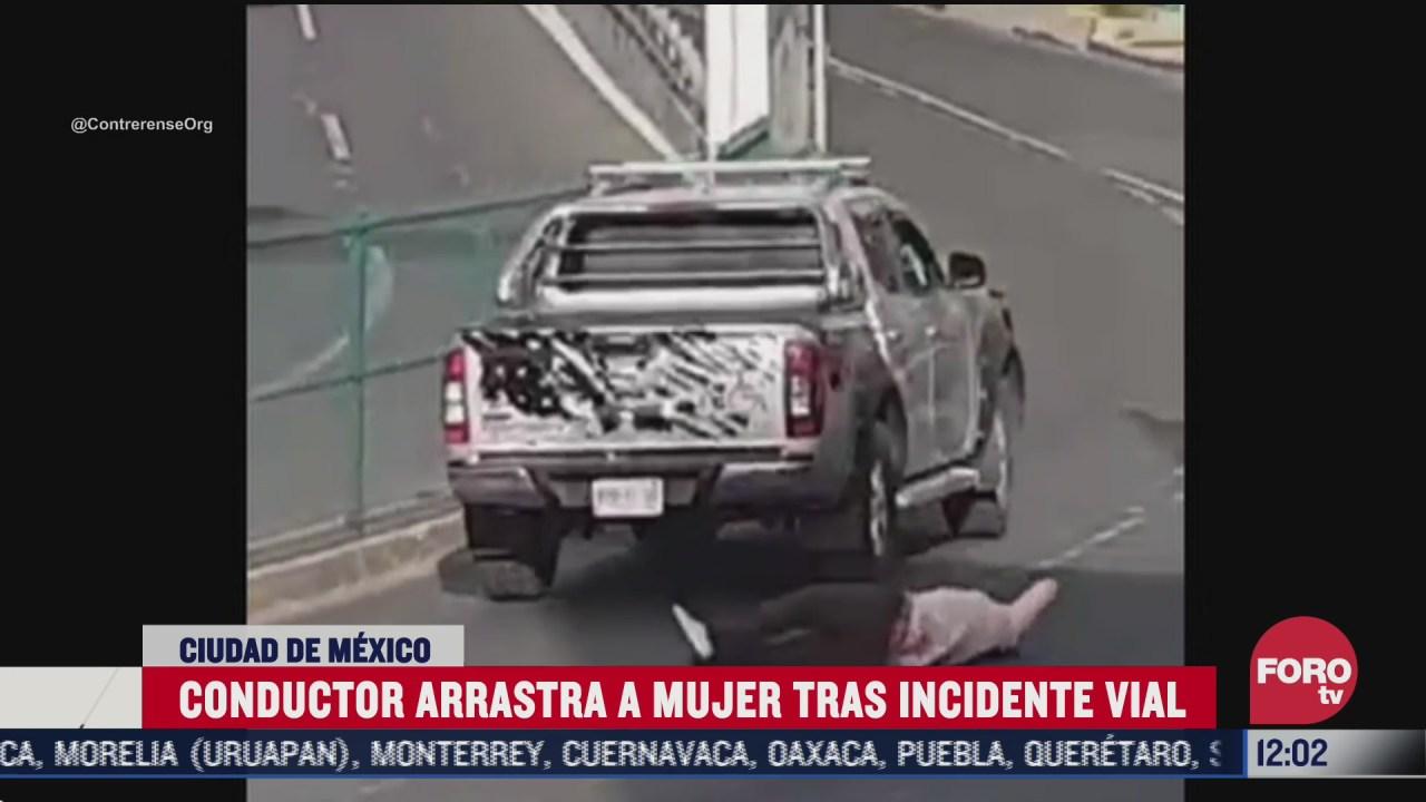 conductor arrastra con su auto a una mujer en cdmx