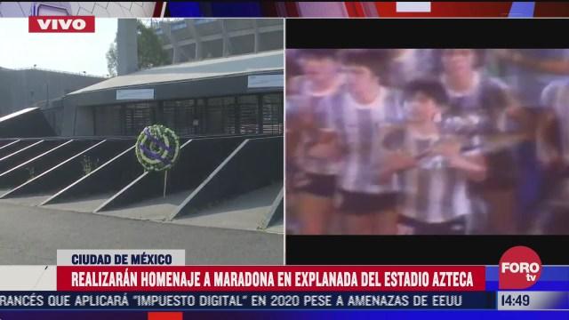 homenajearan a diego armando maradona en la explanada del estadio azteca
