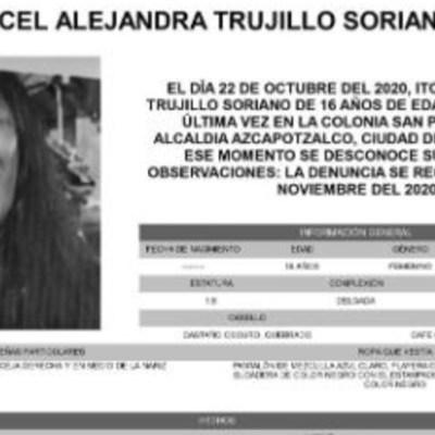 Activan Alerta Amber para localizar a Itcel Alejandra Trujillo Soriano