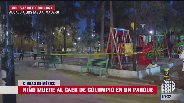 nino muere al caer de columpio en un parque en la ciudad de mexico