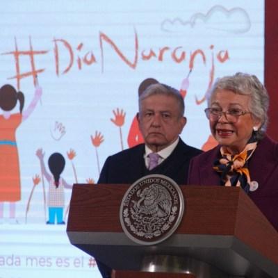 Olga Sánchez Cordero durante la conferencia de prensa del presidente López Obrador