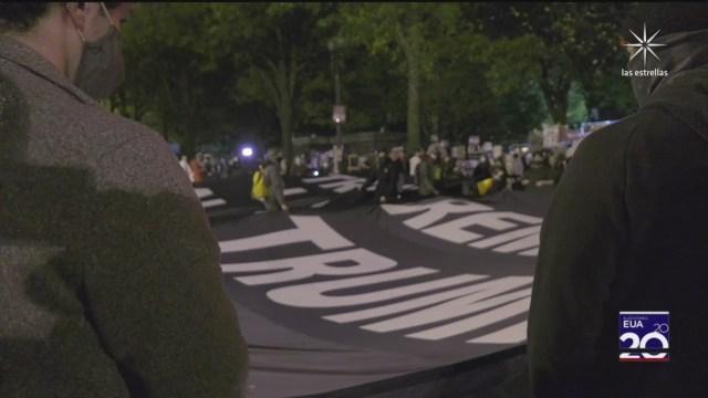 protestan contra donald trump en la plaza black lives matter en washington