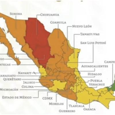 Semáforo epidemiológico: 2 estados en rojo, 18 en naranja, 11 en amarillo y 1 en verde