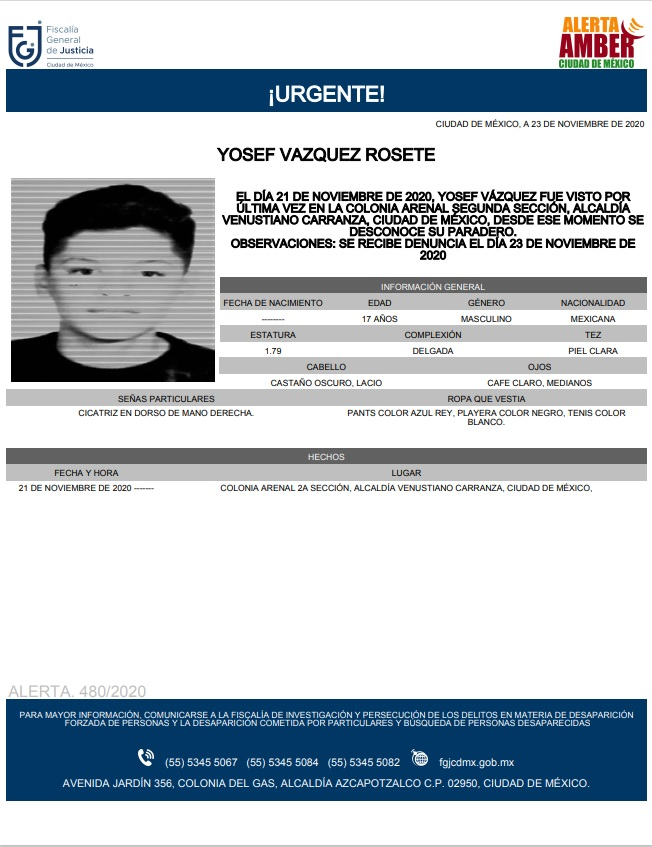 Activan Alerta Amber para localizar a Yosef Vázquez Rosete, de 17 años