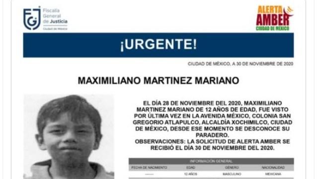 Activan Alerta Amber para localizar a Maximiliano Martínez Mariano