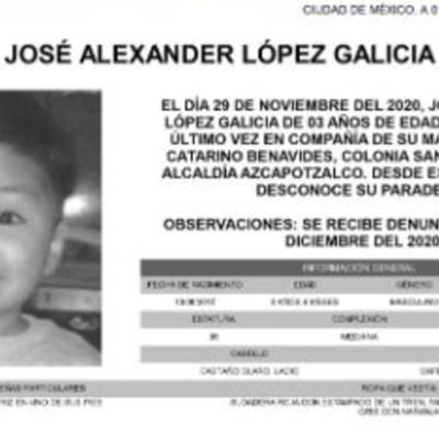 Activan Alerta Amber para localizar a José Alexander López Galicia