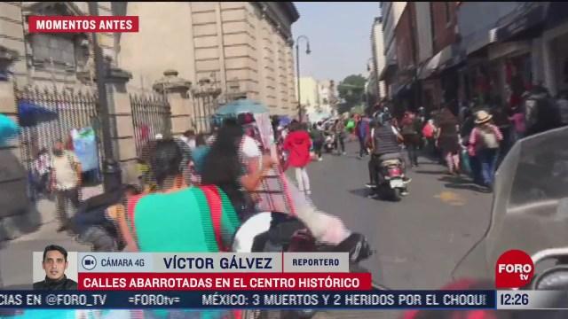 calles abarrotadas en el centro historico de la cdmx pese a semaforo rojo
