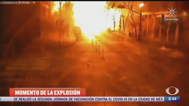 captan momento de la explosion de un coche bomba en nashville