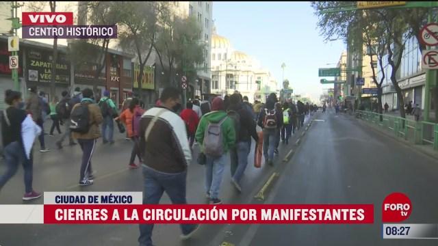 cierran circulacion por marcha de manifestantes sobre eje central