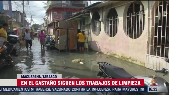 continuan los trabajos de limpieza tras inundacion en tabasco