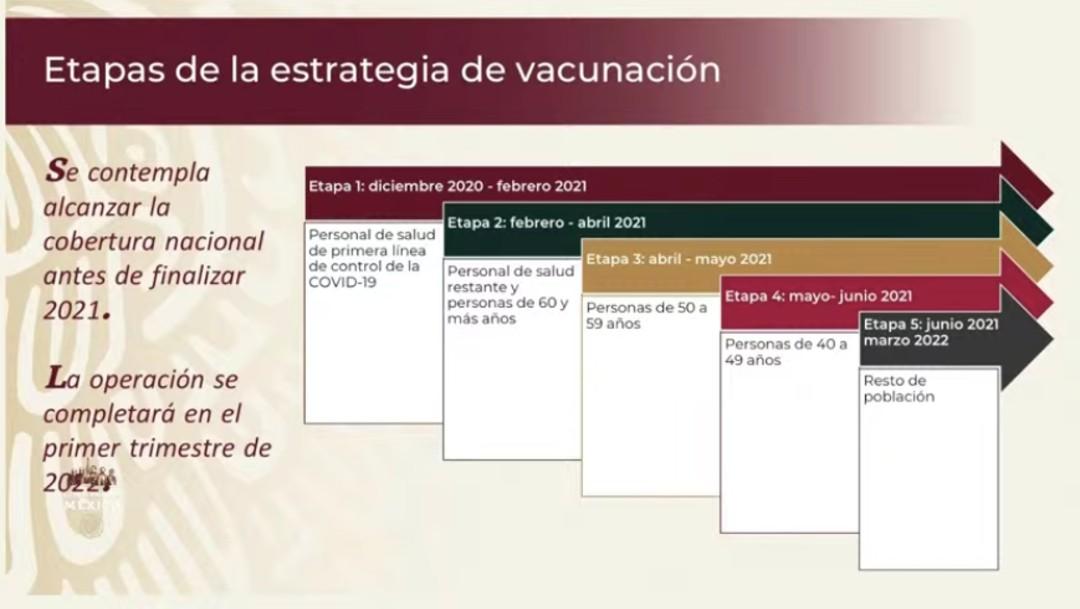 Etapas de la estrategia de vacunación