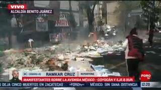 manifestantes queman basura en la av mexico coyoacan cdmx