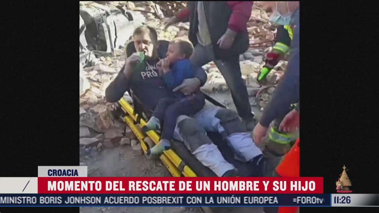momento del rescate de un hombre y su hijo tras sismo en croacia