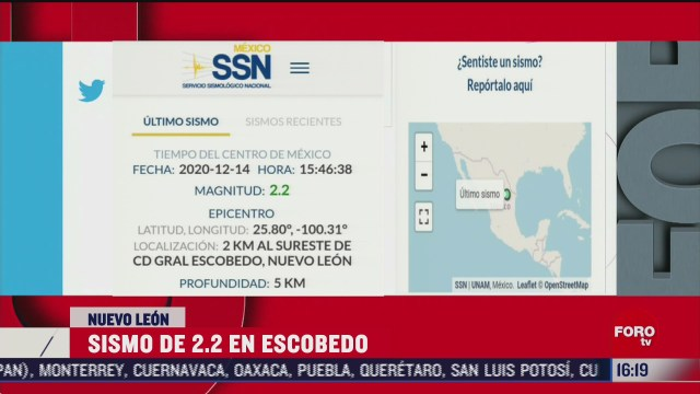se registra sismo de magnitud 2 2 en escobedo nuevo leon