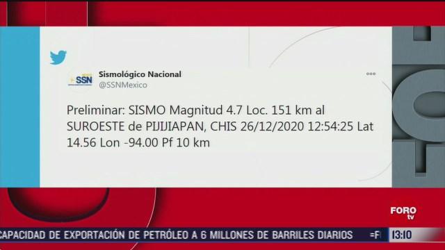 sismologico reporta terremoto magnitud 4 7 en chiapas