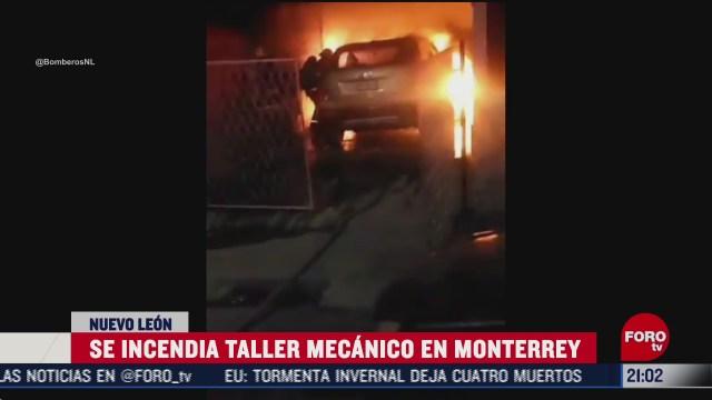 taller mecanico se incendia en monterrey