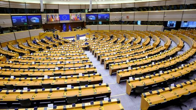 La sala de sesión del Parlamento Europeo en Bruselas, Bélgica