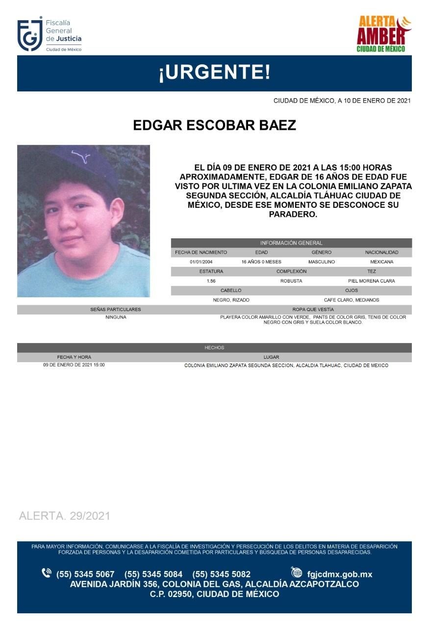 Activan Alerta Amber para localizar a Edgar Escobar Báez