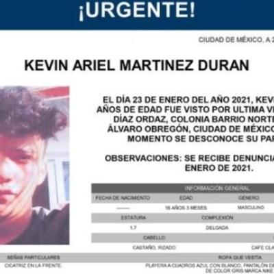 Activan Alerta Amber para localizar a Kevin Ariel Martínez Durán