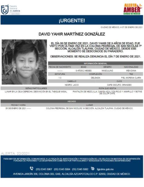 Activan Alerta Amber para localizar a David Yahir Martínez González